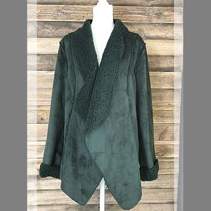 Denim & Co hunter green shearling style coat